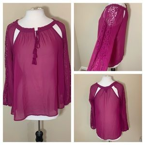 Jessica Simpson blouse top lace detail and cutouts